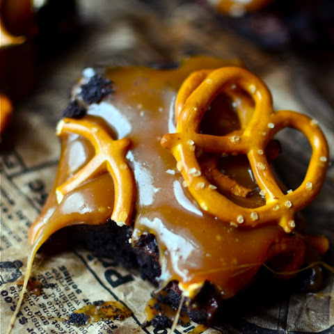 Dark Chocolate Salted Caramel Pretzel Brownies