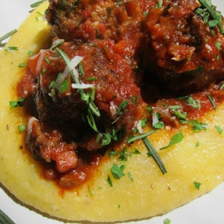 Turkey and Porcini Meatballs with Rosemary and Polenta