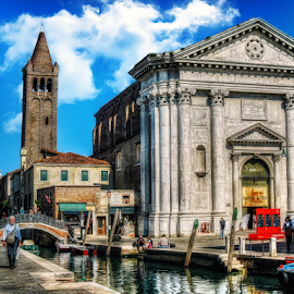 Venice, church of San Barnaba by Andrea Conti - Buildings & Architecture Public & Historical ( venezia, tower, church, boats, venice, churchof san barnaba, bridge, district, italy, canal, historic )