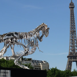 The Eiffel Tower... attacked by a T-Rex! by Alyne De Rudder - Buildings & Architecture Statues & Monuments