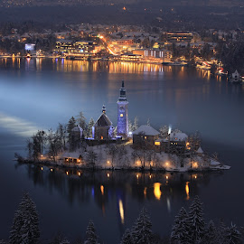 Bright Lights On Bled by Miro Zalokar - Buildings & Architecture Other Exteriors ( water, winter, bled, night, evening, island )