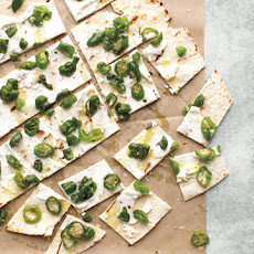 Padron Peppers Scattered on Lavash with Cheese