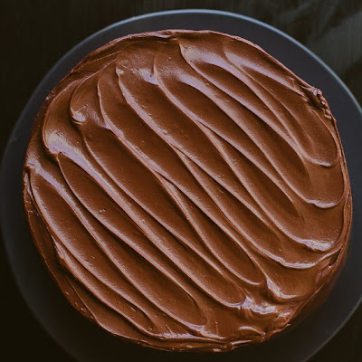 Chocolate Cake with Bittersweet Sour Cream Frosting