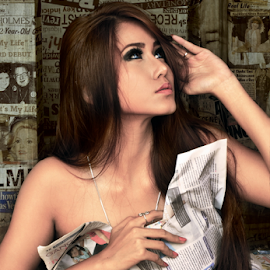 Trapped in Newspaper by Franky Go - People Fashion ( sexy, fashion, model, female, indonesia, woman, beautiful, beauty )