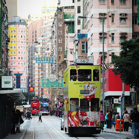 Hong Kong Tramways by Kai Jian - City,  Street & Park  Street Scenes ( hong kong, tramways, street, tram, city )