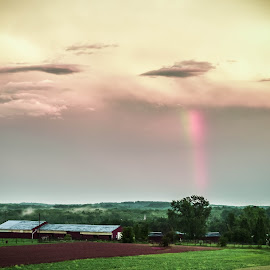 by Brandi Hollywood - Novices Only Landscapes ( farm, field, color, fog, rainbow,  )