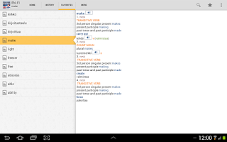Screenshot of English<>Finnish Dictionary TR