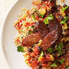 Smoky Red Rice and Chorizo with Black Beans
