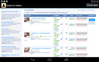 Screenshot of Hotels for Tablets