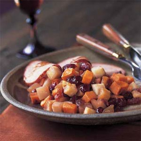 Roasted Turnips, Sweet Potatoes, Apples, and Dried Cranberries