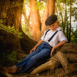 Snips & Snails &  Puppy Dog Tails by Lana Tolle - Babies & Children Child Portraits ( dreamy, cap, male, child portrait, child photography, forest, relaxing, people, woods, portrait, fantasy, denim, childhood, dirt, boy )