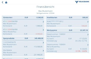 Screenshot of Volksbank Mobile Banking