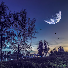 the half night by Seng Chan - Digital Art Abstract ( moon#nature#fineart#landscape#night#light#,  )