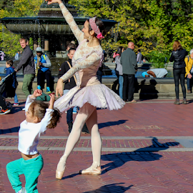 Ballerinas by Gina Gomez - People Musicians & Entertainers ( urban, central park ballet, central park ballerina, central park photo, ballet, new york street performer, ballerina, people, city street )
