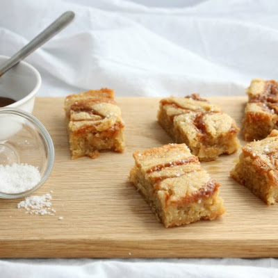One Bowl Caramel Salted Blondies from Sweetphi