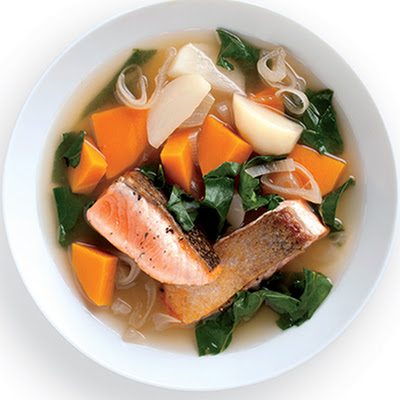 Seared Salmon with Winter Vegetables and Kombu Broth