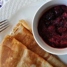 Crepes with Blackberry-Rhubarb Compote
