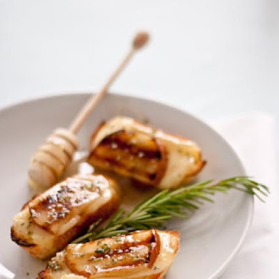 Grilled Pear, Honey, and Brie Crostini