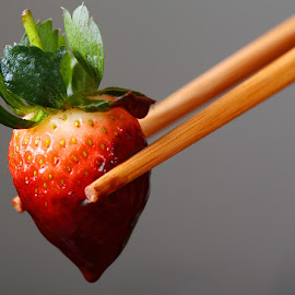 Chocolate Strawberry by Ruli Yanto - Food & Drink Fruits & Vegetables ( chocolate, food, still life, chopstick, strawberry )