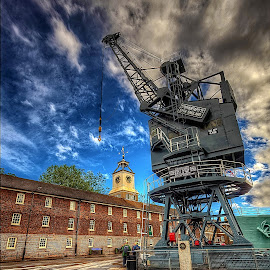 Crane... by Graham Markham - Landscapes Cloud Formations ( clouds, yard, hdr, photomatix, 7 exposures, boat, rochester, magic lantern, sky, lightroom, chatham, historical, photoshop )