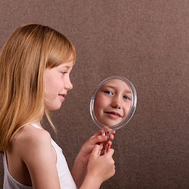 Iris by Robert van Brug - Babies & Children Child Portraits ( mirror, reflection, girl, blond, iris, smile )