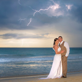 Karla & Marty by Chevy Morgan - Wedding Bride & Groom ( lightning, wedding photography, sunset, beach )