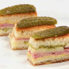 Mini Grilled Gruyere and Ham Sammies with Cornichons