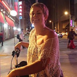 Pedi Cabbie by Donald Henninger - Instagram & Mobile Android ( natural light, cab, woman, denver, human interest, night, transportation, cityscape, street performer, portrait, street photography )