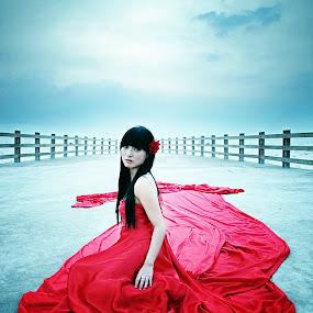 Lady in Red by Ivanko Junalta - People Fashion ( photooftheweek, red, dress, bridge, long,  )