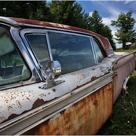 Pink Rusted Car by Raquel Gonzalez - Transportation Automobiles ( hdr, blue skies, rust, old cars )