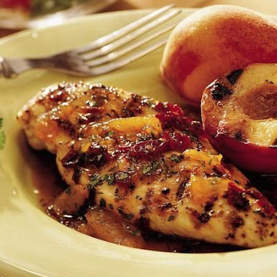 Grilled Chicken with Chipotle-Peach Glaze