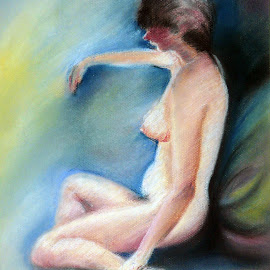 She by Artica Arta - Painting All Painting ( pastel, nude, act, women, painting,  )