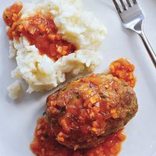 Meatball Loaves with Tomato Gravy and Smashed Potatoes