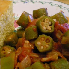 Mom's Not Slimy Stewed Okra