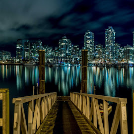 Vancouver Dock by Neil McLeod - City,  Street & Park  Night ( water, skyline, ferry, false creek, creek, transportation, dock, city, british columbia )