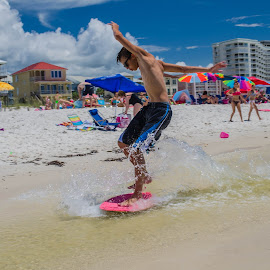 Skim boarding in Orange Beach by Benjamin Sr. - Sports & Fitness Surfing ( skim boarding, summer, fun, beach, surf, athletic )