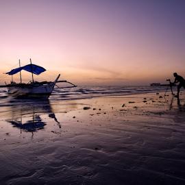 Sunrise in Bantayan by Ferdinand Ludo - Transportation Boats ( early dawn, photographer, pumpboat, bantayan, island )