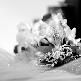 Before Placing by Vanessa Selik - Wedding Details ( tiara, wedding, wedding flowers, sparkle, veil )