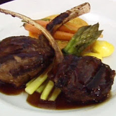Grilled Lamb Chops with a Butternut Squash Ring, Couscous, Asparagus