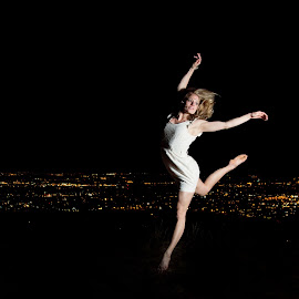 The Night Dancer by Kira Roberts - Sports & Fitness Other Sports ( girl, city lights, night, dance, dancer )