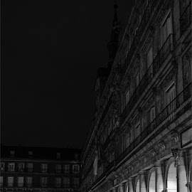 Madrid by Eugene Gadget - City,  Street & Park  Historic Districts ( black and white, madrid, night, place, spain,  )