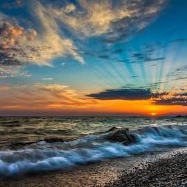 Sunset on the sea by Nik Coli - Landscapes Sunsets & Sunrises ( reflection, dreamy, relax, beach, nikcoli, coast, wall art, nikon, license, rocks, water, clouds, sand, orange, decoration, nikonphotography, waves, wallpaper, canvas, sea, seascape, relaxation, waterscapes, dawn, blue, sunset, d7100, landscapes,  )