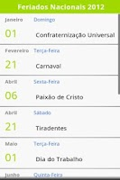 Screenshot of Feriados Brasileiros 2015