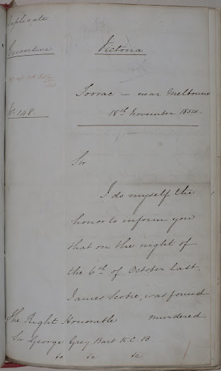 "With the murder of Scottish miner, James Scobie, Charles Hotham becomes increasingly concerned with the state of the goldfields and initial signs that the miners are becoming a disgruntled community to be reckoned with.  The despatch  represents a part of Lieutenant Governor Hotham's narrative of the period between his initial visits to the goldfields, in August and September 1854, through to the findings of the Gold Fields Commission of Enquiry in March 1855. <a href=""http://wiki.prov.vic.gov.au/index.php/Eureka_Stockade:Lieutenant_Governor_Hotham%27s_report_on_the_burning_of_the_Eureka_Hotel_on_the_Ballarat_Gold_Field"">Click here to see more of this record on our wiki</a>  TRANSCRIPT:  Duplicate  Despatch No. 148  Reporting the burning of the Eureka Hotel on the Ballaarat Gold Field  Toorac – near Melbourne 18th November 1854  The Right Honorable Sir George Grey Bart, K.C.B.  Sir,  I do myself the honor to inform you that on the night of the 6th of October last, James Scobie, was found murdered on the gold field of Ballaarat. As he had been last seen coming from the Eureka Hotel, suspicion fell upon the landlord, James Bentley, his wife, and John Farrell, all of whom had formerly been convicts in Van Diemen's Land, and they were accordingly taken up, and brought before the bench of magistrates at Ballaarat.  The Magistrates after hearing the evidence and examining witnesses, pronounced the prisoners not guilty of the charges preferred against them, and they were accordingly released.  This decision gave great dissatisfaction to the entire digging community of Ballaarat; they denounced the presiding magistrate, Mr Dewes – accused him of being connected by interest with Bentley, and broadly asserted that he had been bought over.  Infuriated with rage, a vast assemblage of diggers was soon on the ground, and notwithstanding the exertions of the magistrates, police and a small party of military, they set fire to the hotel, sacked it, and burnt it to the ground, and with infinite difficulty the prisoners obtained safety in the camp, and escaped the summary capital punishment to which it was intended to subject them.  The knowledge of strength which they now had acquired, and the indecision and oscillation of the authorities, in allowing the riot to get head, caused the diggers to hold mass meetings, use the most threatening language to the officers of the gold field, and led them to fear that an attack would be made on the government buildings, and that they in turn might be destroyed.  On obtaining official information of these proceedings, I lost no time in making such dispositions as I concluded would enable the authorities to maintain the integrity of the law; and within four days 450 military and police were on the ground, commanded by an officer in whom I had confidence, and who was instructed to enforce order and quiet, support the civil authority in the arrest of the ringleaders and to use force, whenever legally called upon to do so, without regard to the consequences which might ensue.  These dispositions and the knowledge that the military were instructed to act, checked all further movement on the part of the diggers. Four of the supposed ringleaders were arrested, and very heavy bail taken for their appearance to stand their trial.  Gradually the irritation subsided, and the diggers returned to their ordinary labour, but the law Officers of the Crown, being of opinion that sufficient evidence did exist to criminate Bentley, his wife, and Farrell, they were again arrested, and are now in prison, awaiting their trial at the approachiing assize.  The movement being now quelled, it behoved me to investigate the charges which poured in from all quarters, of general corruption on the part of the authorities of the Ballaarat gold field, and accordingly I appointed a board of enquiry composed of officers of standing and ability, and directed them to proceed to Ballaarat, and ascertain if there was any foundation for these charges.  The board report that the Stipendiary Magistrate, Mr Dewes, had obtained loans of money from various individuals resident at Ballaarat, and state 'that such acts cannot be too severely inadverted upon as tending to subvert public confidence in the integrity, and impartiallity, of the Bench'.  They also report Sergeant Major Milne of the police force as guilty of receiving bribes, but with these exceptions, they are unanimous in declaring that the conduct of the officers on the Ballaarat gold field, has been honorable, and correct.  I have directed that Mr Dewes' name be erased from the Commission of the Peace, and have requested the Attorney General to inform me whether Sergeant Major Milne can be prosecuted for receiving money illegally. In the meantime I have directed the law officers to prepare a bill, rendering any district which may be proclaimed by the Lieutenant Governor 'disturbed', liable to defray by assessment all extraordinary charges which may arise either from violence, or an increase of force.   I have the honor to be Sir, Your obedient humble Servant Chas. Hotham"