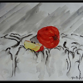 A for apple by Milan Kumar Das - Painting All Painting