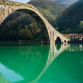 Devil's bridge by Vincenzo Bernardi - Buildings & Architecture Bridges & Suspended Structures ( reflection, tuscany, pwc89: bridges, landscape, devil, bridge,  )