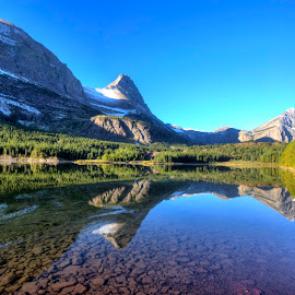 Glacier National Park by Andy Schwanke - Landscapes Mountains & Hills ( water, mountains, reflection, national park, hdr, glacier national park,  )