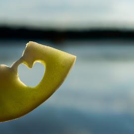 Love Honeydew Melon by Emily Myrick - Food & Drink Fruits & Vegetables ( melon, heart, summer, lake, honeydew,  )