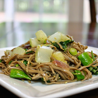 Soba Noodles With Bok Choy In Sesame Dressing