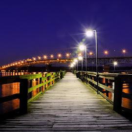 Pier to Bridge by James Gramm - Buildings & Architecture Bridges & Suspended Structures ( lights, water, sky, blue hour, pier, long exposure, bridge )